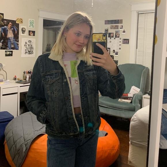 Abercrombie fuzzy jean jacket